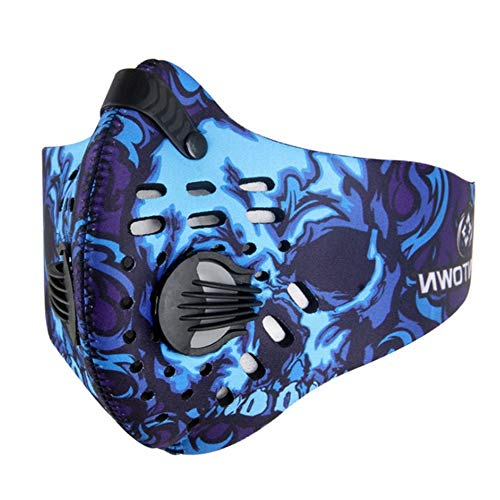 GrandeNero Balaclava Masks Face Mask Men Women Dustproof Filter Biker Mouth Mask (Navy Blue)