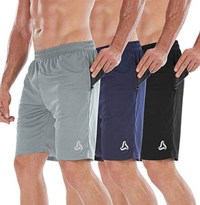 "SILKWORLD 7"" Men's Workout Zipper Pockets Mesh Running Shorts(Pack of 3), Black, Navy Blue, Grey, Medium"