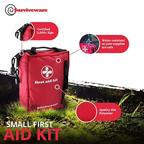 Surviveware Small First Aid Kit with Labelled Compartments for Hiking, Backpacking, Camping, Travel, Car and Cycling.