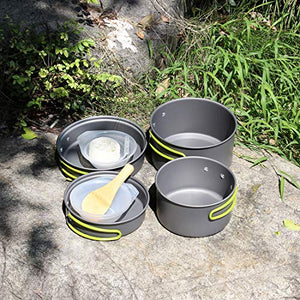 JACKBAGGIO New Outdoor Camping Pan Hiking Cookware Backpacking Camping Cookware Mess Kit Cooking Picnic Bowl Pot Pan Sets w/Tableware Mountaineering Buckle for 2-3 People(CP10)
