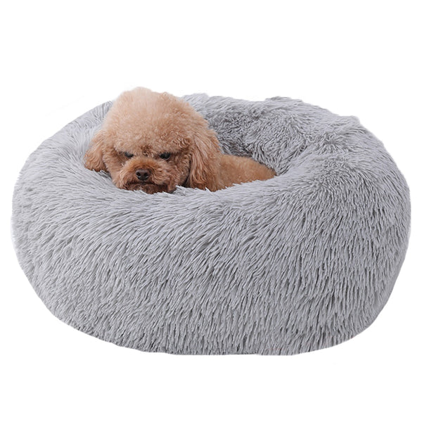 Trending Cozy Luxury Faux Fur Pet Bed Plush Dog Round Bed