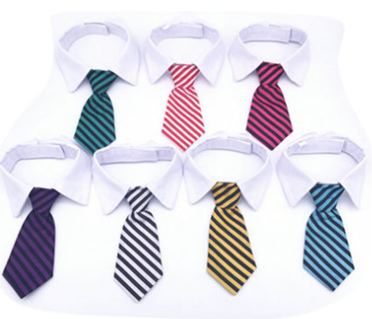 Dog Cat Pet Stripe Bow Tie Neck Tie with White Collar