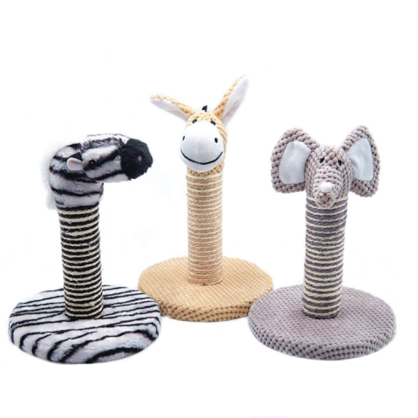 Animal shapes small Wood sisal Cat scratching Tree with sisal post for scratching (Elephant, Zebra, Donkey)