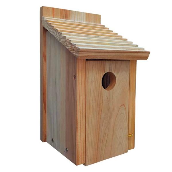 Bluebird House, Solid Wood Birdhouse, Weatherproof Bird House Designed for Easy Cleaning, Secure Latch, Air Vents, Fledgling Grooves