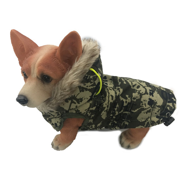 Fur Hoodie Thicken Double Pocket Industrial Style Warm Dog Jacket Coat Costume Winter Dog Clothes