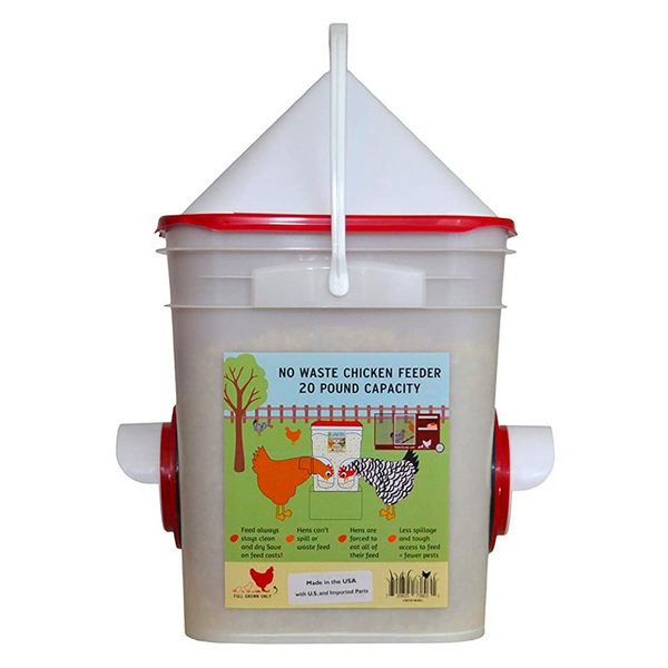 Chicken Feeder-Holds 20 Pounds-Pellets-Crumbles-Inside or Outside of Coop - Use with Nipple Waterer