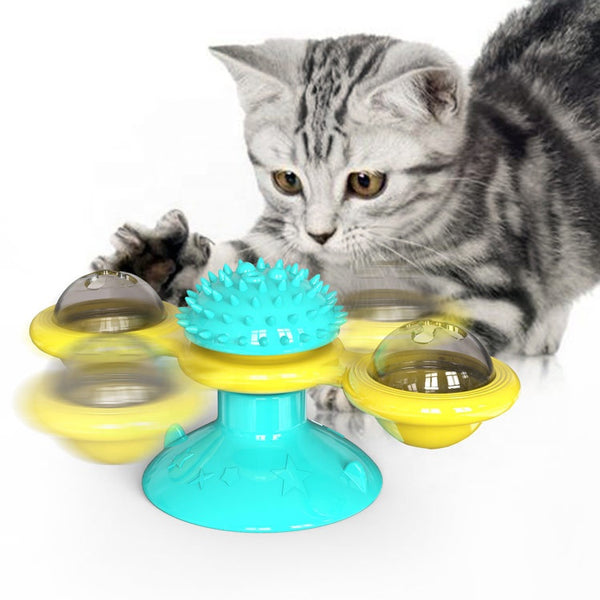 New Hot Pet Toy Electric LED Suction Cups Catnip Interactive Windmill Massage Cat Toy at Home