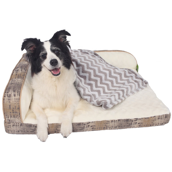 Luxury Washable Large Memory Foam PU Pet Dog Bed Sofa Beds For Dogs