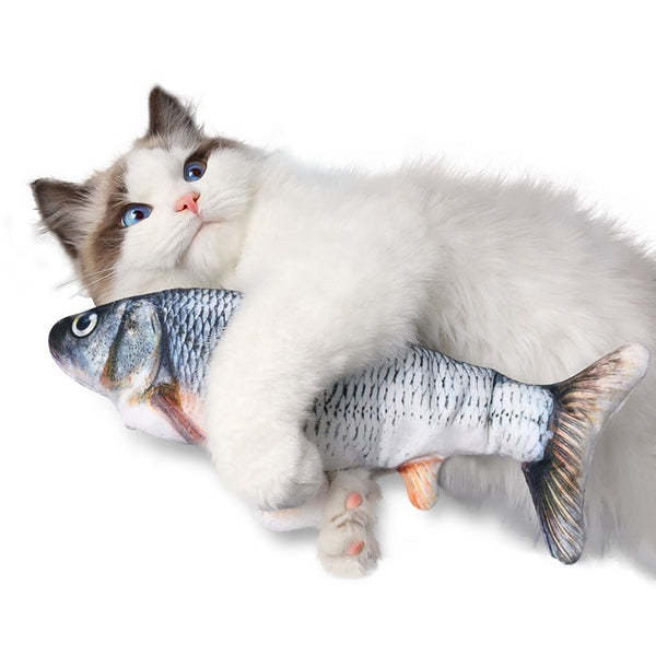 Plush Fish Toy USB Simulation Electric Doll Fish Funny Interactive Kitty Toy Kicker Flopping Fish Cat Toy