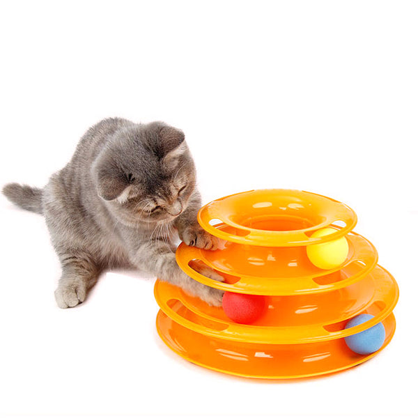 3 Level Tower of Tracks Ball Cat Toy Pet Products Endless Fun Pet Toy
