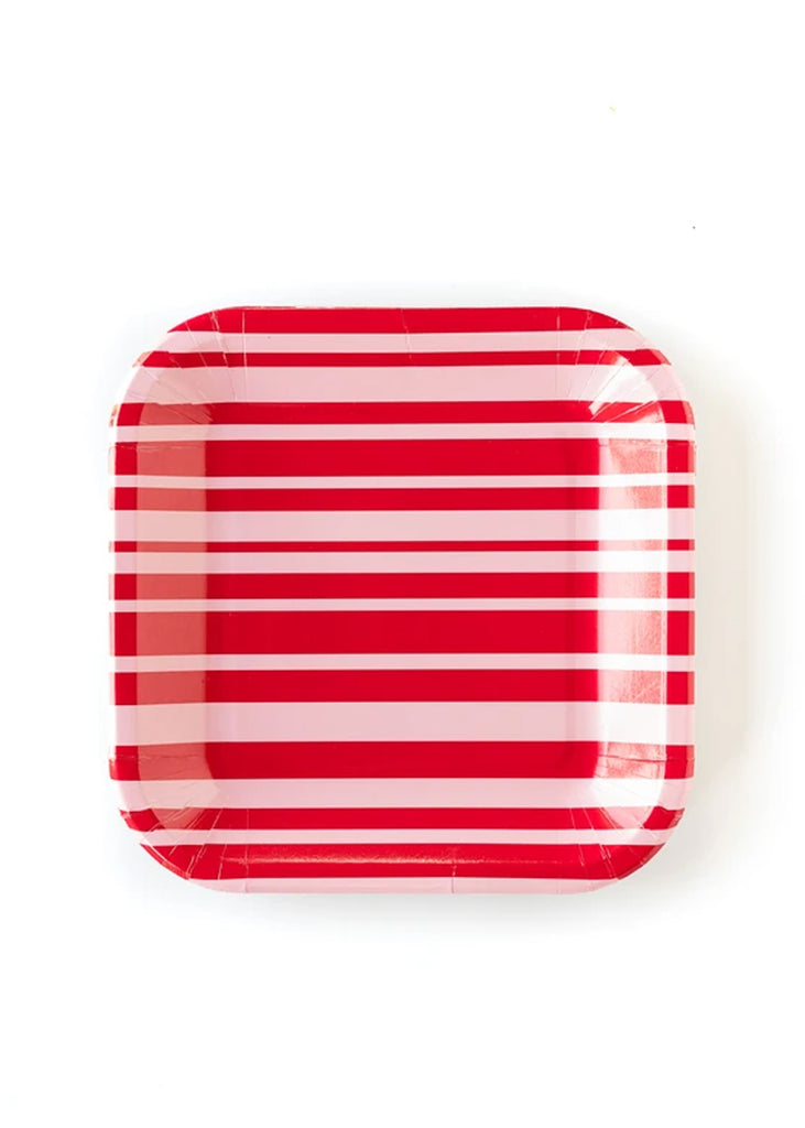 Red and Pink Striped Plate 9""