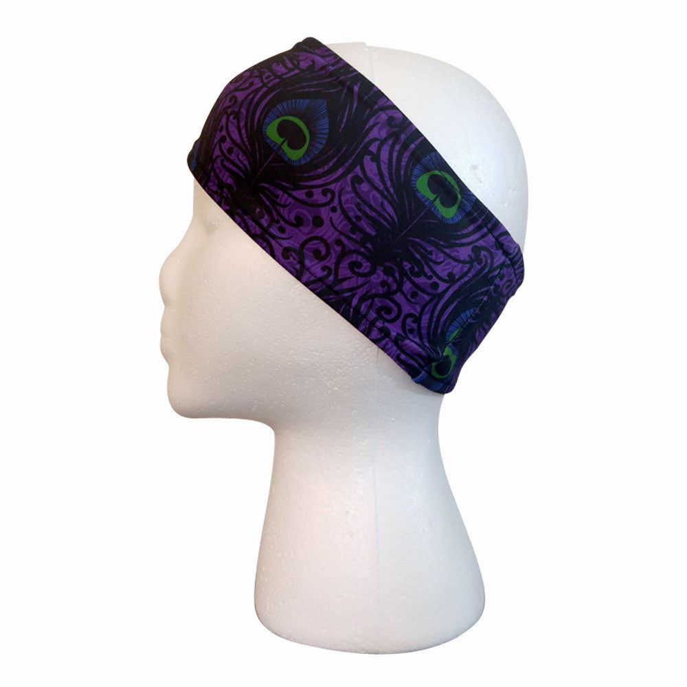 New Purple Peacock Performance Headband Headbands - lineagewear