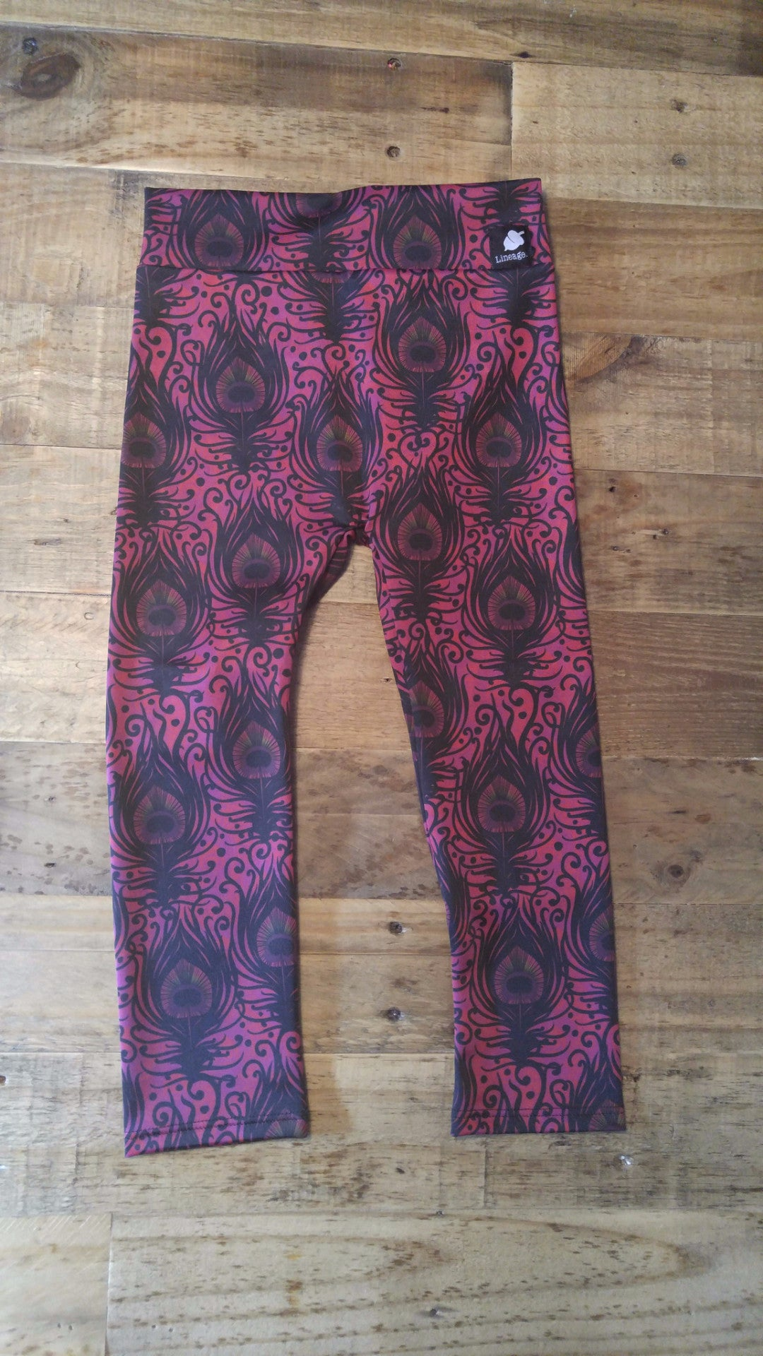 Sunset Peacock Kids Leggings Kids Leggings - lineagewear