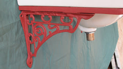 Vintage Porcelain Wall Hung Bathroom Sink + Cradle, Brackets, Waste & Chain