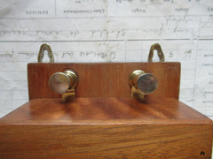 Restored Golden Wood & Brass Electric Doorbell - 3-6 volts