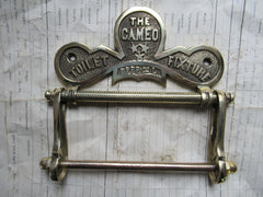 "Antique Solid Brass Toilet Roll / Paper Holder 'The Cameo"" with Owl"