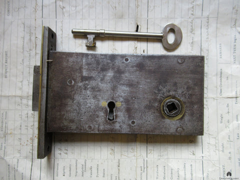 Victorian Cast Iron & Brass Mortise Door Lock & Key