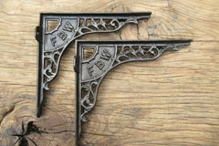 "9 1/4"" Art Nouveau High Level Cast Iron Toilet Cistern Brackets - FBW"