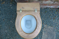 Antique High Level Beech Wood Open Toilet Seat