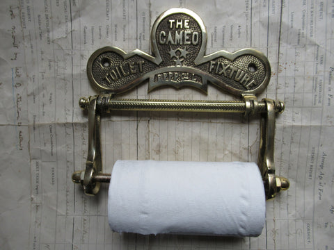 "Solid Brass Toilet Roll / Paper Holder 'The Cameo"" with Owl"