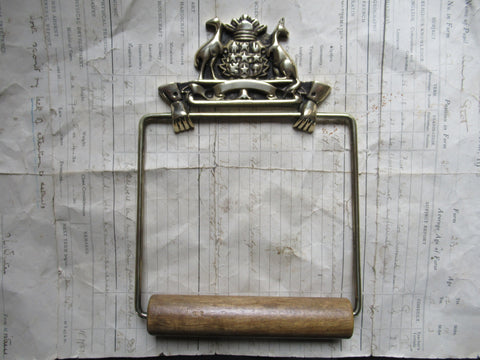 Solid Brass and Wood Antique Toilet Roll / Paper Holder - Australian Coat of Arms