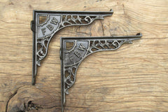 "8 3/4"" Art Nouveau High Level Cast Iron Toilet Cistern Brackets - FBW"