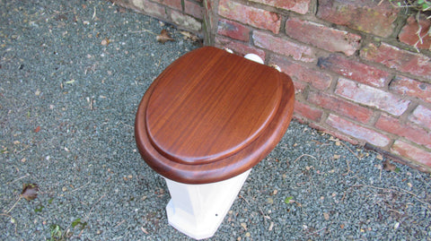 Antique High Level Mahogany Toilet Seat with Lid - Brass hinges