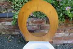Antique High Level Wood & Brass Toilet Seat Professionally Restored