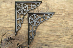 "8 1/2"" Antique Ornate High Level Cast Iron Toilet Cistern Brackets - Flower"