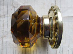 Antique Amber Glass & Brass Entrance Door Centre Knob Pull - Whitehouse's Patent