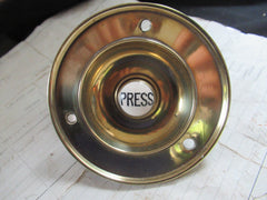 Large Antique Brass & China Electric Door Bell Push - 4""
