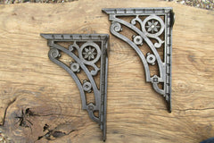 "8 3/4"" Art Nouveau High Level Cast Iron Toilet Cistern Brackets - Ornate"