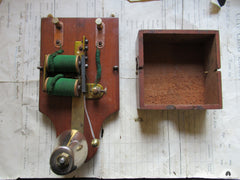 Restored Art Deco Wood & Brass Electric Conical Doorbell - 4.5-9 volts