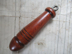 Traditional Vintage Wood & Steel High Level Cistern Toilet Chain Pull - red