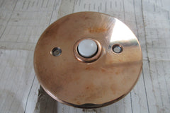 Vintage Round Copper Electric Door Bell Push - Flush Fit