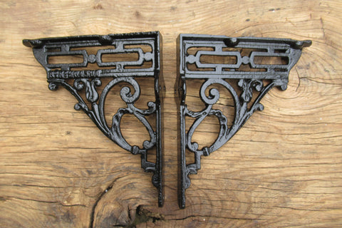 "8 3/4"" Art Nouveau High Level Cast Iron Toilet Cistern Brackets - 1895"