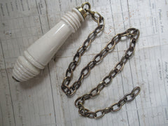 Antique High Level Toilet Cistern Pull and Brass Chain - Plain
