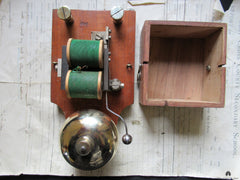 Substantial Restored Antique Wood & Brass Electric  Doorbell - 12 Volts