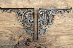 "9 3/4"" Art Nouveau High Level Cast Iron Toilet Cistern Brackets - Vines"