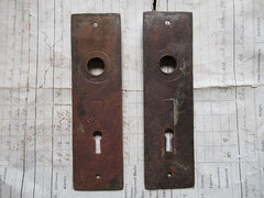Pair Ornate Eastlake Door Backplates / Finger plates Circa 1900