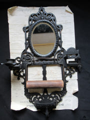 Vintage Rippingille Bros Patent Toilet Roll / Paper Holder - Mirror, Candle / Matches Holder, Ashtray
