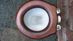 Antique High Level Mahogany Open Toilet Seat - Shaped Back
