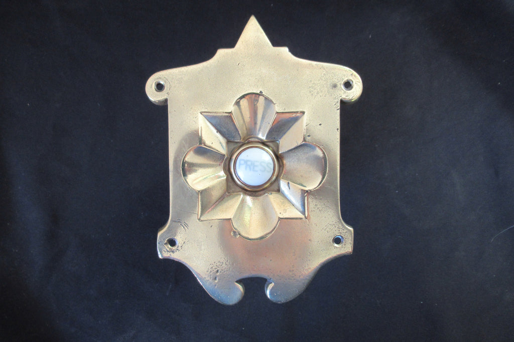 Large Ornate Antique Brass & China Electric Door Bell Push - 6""