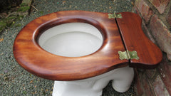 Antique High Level Mahogany Wood Open Toilet Seat - Shaped Back