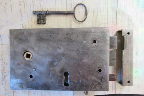 "8"" x 5"" Gothic Cast Iron Door Rim Lock, Key & Keep - hand written"