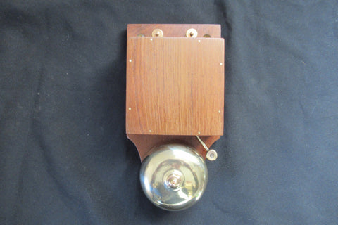 Restored Antique Wood & Brass Electric Doorbell - Brass Tacks 4-6v