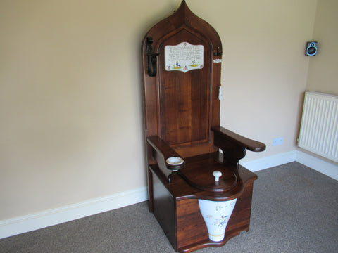 Ornate Antique Style Mahogany Semi High level Hand Painted Throne Toilet & Seat