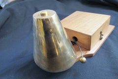 Restored Antique Wood & Chromed Brass Electric Conical Doorbell - 4.5 - 9 Volts