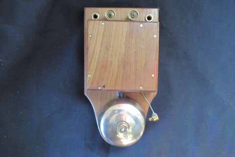 Large Restored Art Deco Wood & Brass Electric Doorbell - 4 - 6 volts