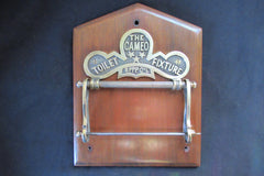"Solid Brass Toilet Roll / Paper Holder 'The Cameo"" with Wood Plaque"
